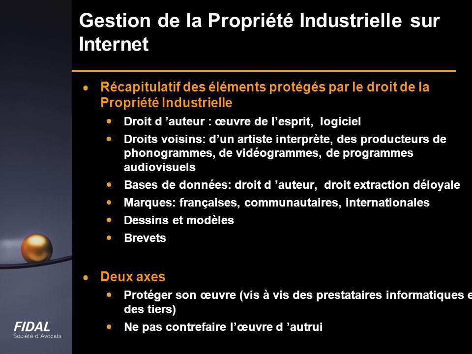 Gestion de la Propriété Industrielle sur Internet Récapitulatif des éléments protégés par le droit de la Propriété Industrielle Droit d auteur : œuvre