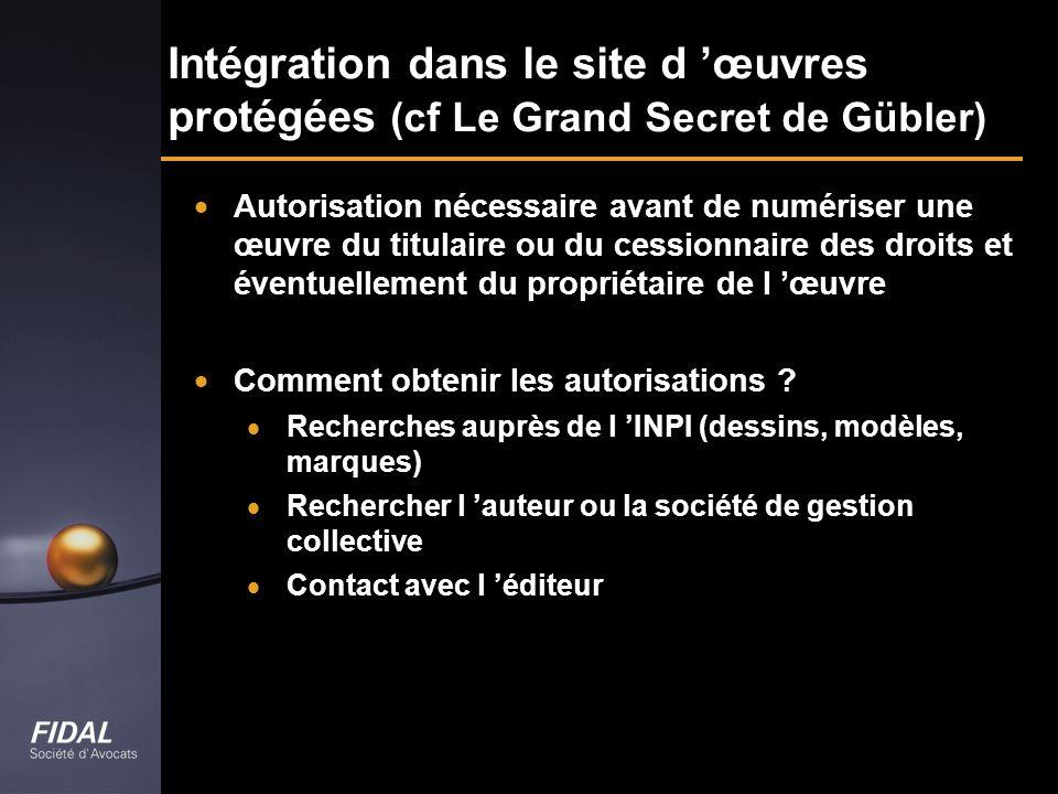 Intégration dans le site d œuvres protégées (cf Le Grand Secret de Gübler) Autorisation nécessaire avant de numériser une œuvre du titulaire ou du ces