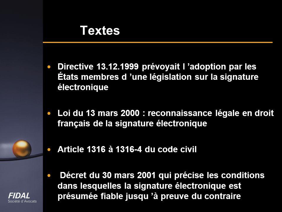 Textes Directive 13.12.1999 prévoyait l adoption par les États membres d une législation sur la signature électronique Loi du 13 mars 2000 : reconnais
