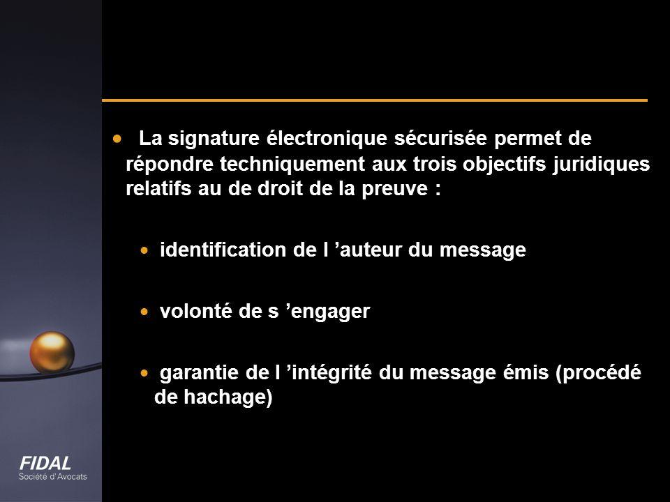 La signature électronique sécurisée permet de répondre techniquement aux trois objectifs juridiques relatifs au de droit de la preuve : identification