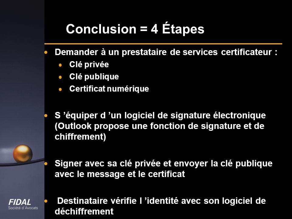Conclusion = 4 Étapes Demander à un prestataire de services certificateur : Clé privée Clé publique Certificat numérique S équiper d un logiciel de si