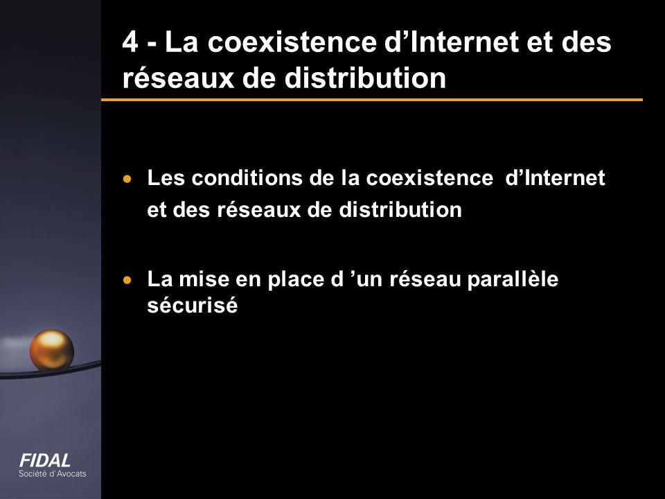 4 - La coexistence dInternet et des réseaux de distribution Les conditions de la coexistence dInternet et des réseaux de distribution La mise en place
