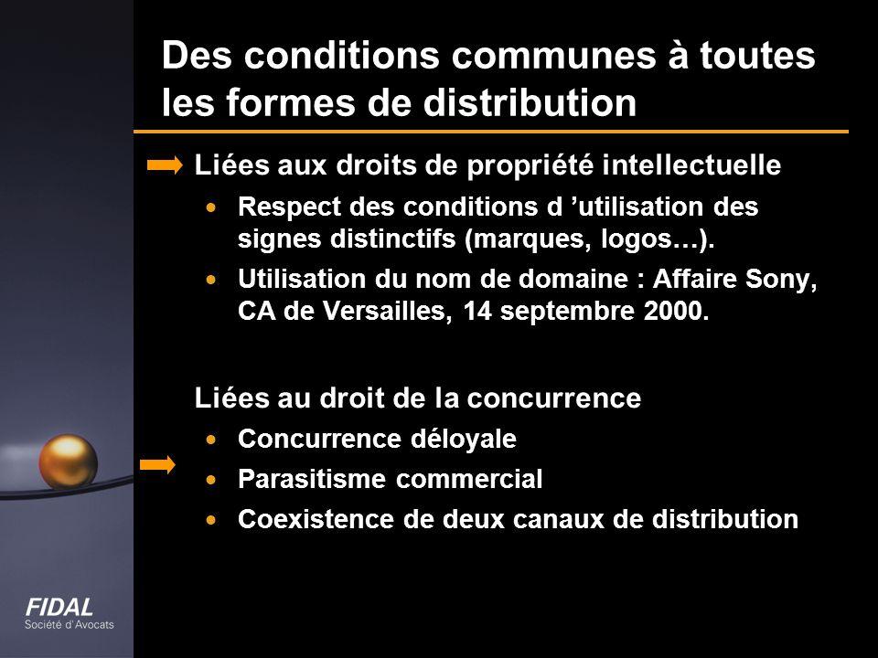 Des conditions communes à toutes les formes de distribution Liées aux droits de propriété intellectuelle Respect des conditions d utilisation des sign