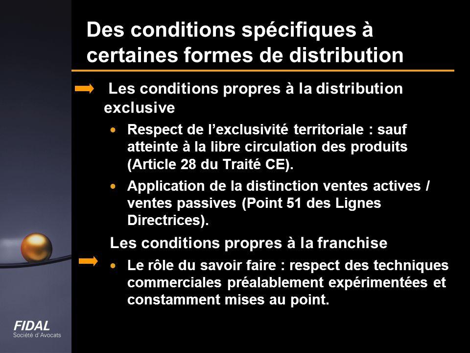 Des conditions spécifiques à certaines formes de distribution Les conditions propres à la distribution exclusive Respect de lexclusivité territoriale