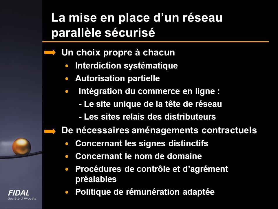 La mise en place dun réseau parallèle sécurisé Un choix propre à chacun Interdiction systématique Autorisation partielle Intégration du commerce en li