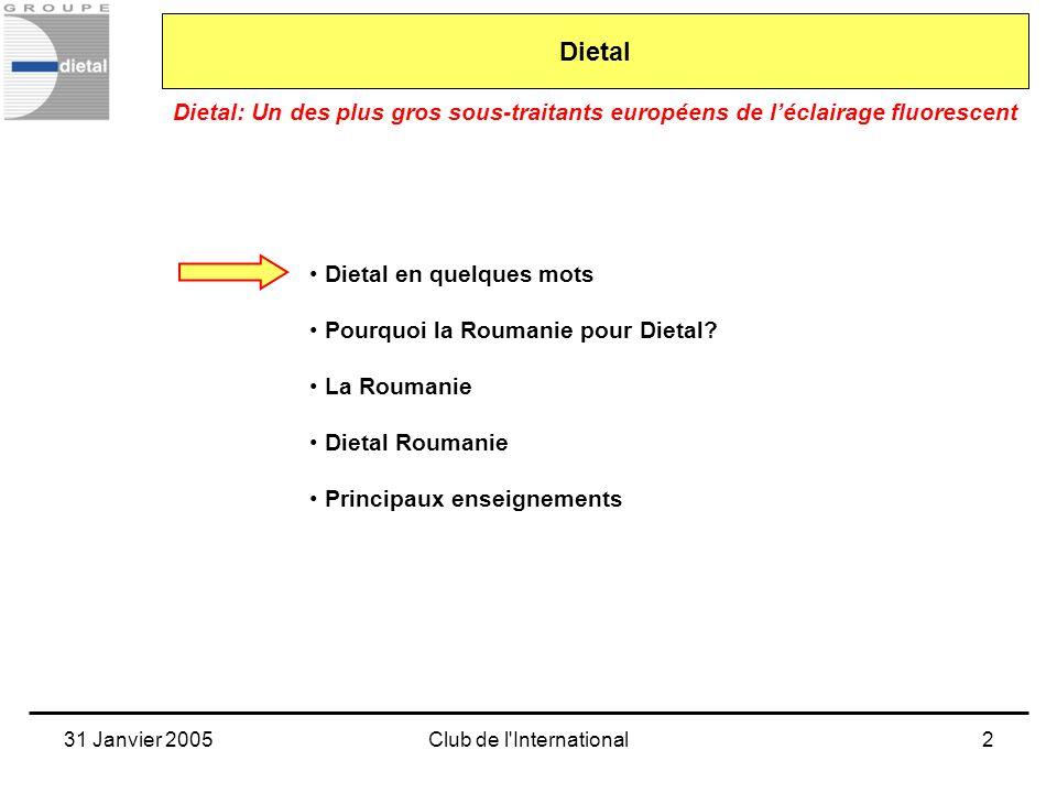 31 Janvier 2005Club de l International3 Dietal: Un des plus gros sous-traitants européens de léclairage fluorescent Dietal Nos produits: Les luminaires fluorescents (les « néons») en encastrés ou en plafonniers (immeubles de bureaux) en chemins lumineux continus (zones commerciales)