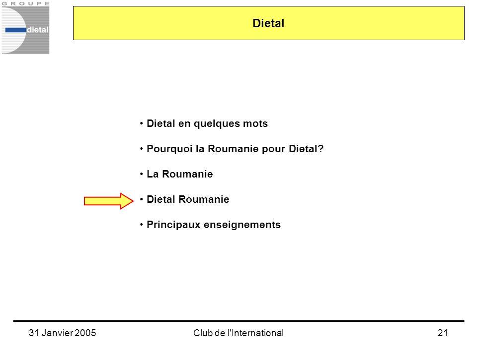 31 Janvier 2005Club de l'International21 Dietal en quelques mots Pourquoi la Roumanie pour Dietal? La Roumanie Dietal Roumanie Principaux enseignement