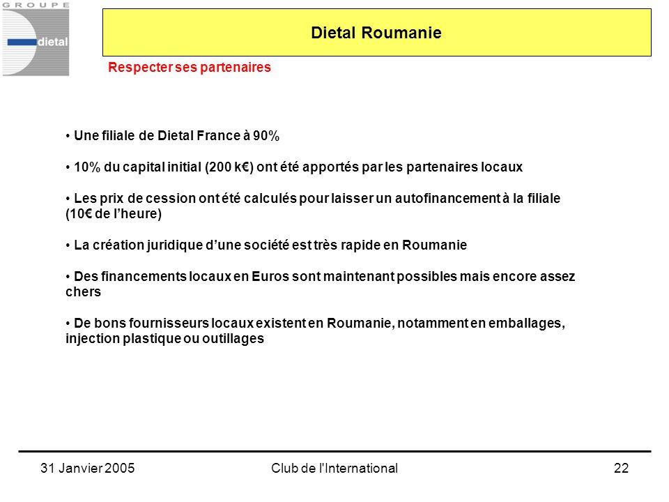 31 Janvier 2005Club de l'International22 Dietal Roumanie Respecter ses partenaires Une filiale de Dietal France à 90% 10% du capital initial (200 k) o