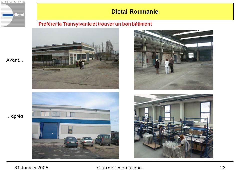 31 Janvier 2005Club de l'International23 Avant… …après Dietal Roumanie Préférer la Transylvanie et trouver un bon bâtiment