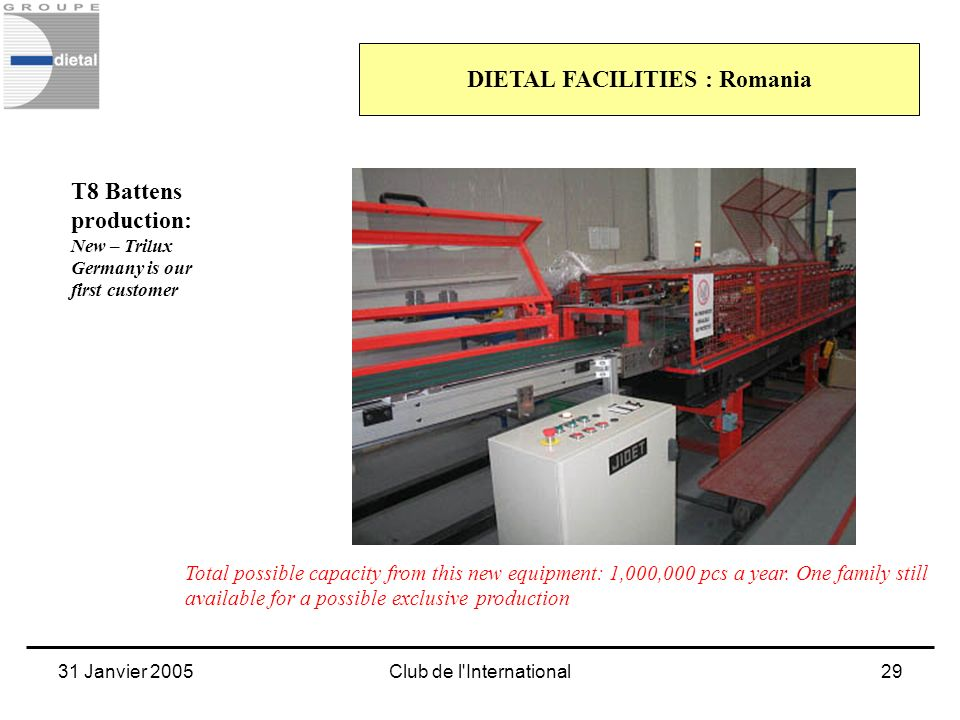 31 Janvier 2005Club de l'International29 DIETAL FACILITIES : Romania T8 Battens production: New – Trilux Germany is our first customer Total possible