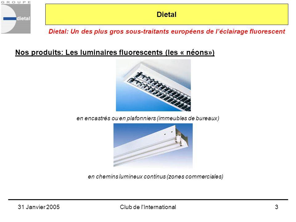 31 Janvier 2005Club de l International4 Dietal: Un des plus gros sous-traitants européens de léclairage fluorescent Dietal Nos moyens de production Le travail de la tôlerie fine