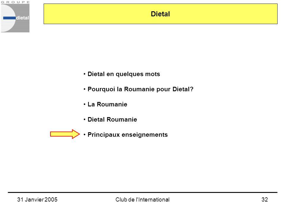 31 Janvier 2005Club de l'International32 Dietal en quelques mots Pourquoi la Roumanie pour Dietal? La Roumanie Dietal Roumanie Principaux enseignement