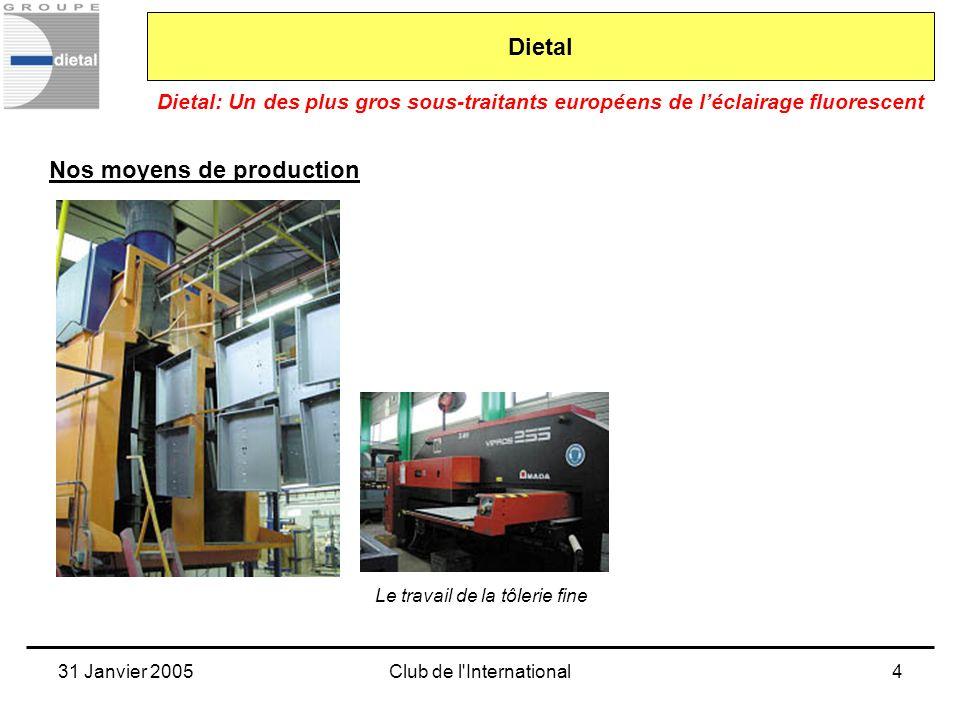 31 Janvier 2005Club de l International5 Dietal: Un des plus gros sous-traitants européens de léclairage fluorescent Dietal Nos moyens de production Des moyens de câblage et dassemblage, parfois inévitablement manuels
