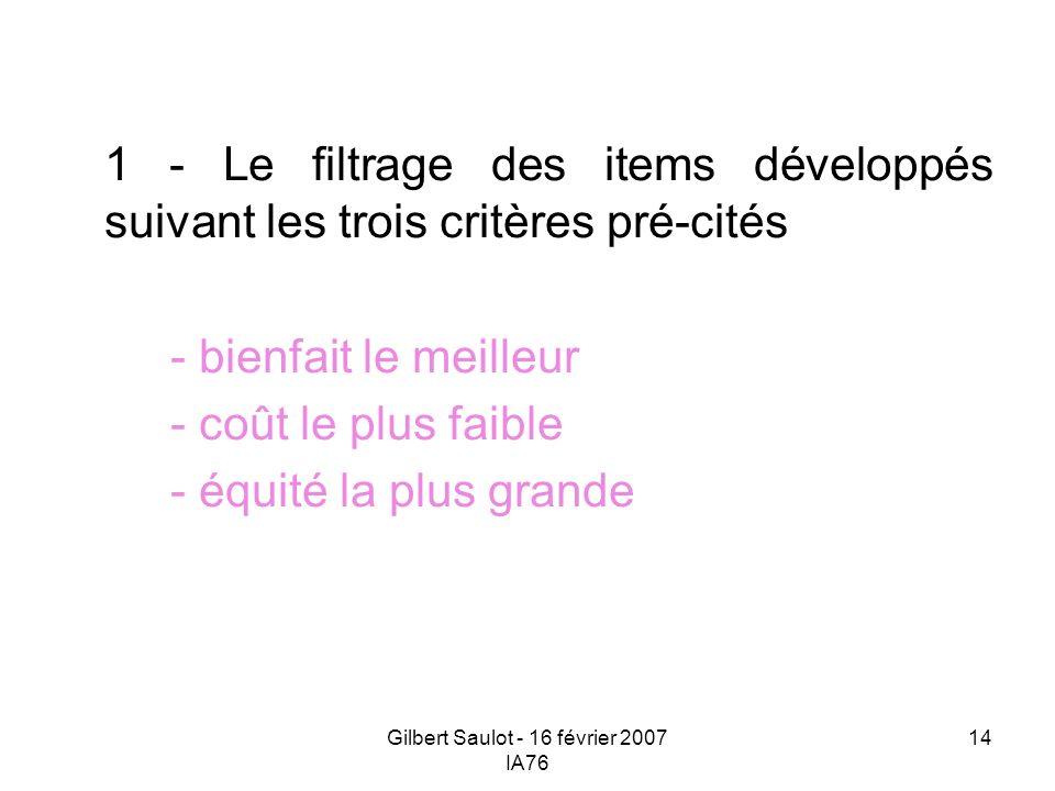 Gilbert Saulot - 16 février 2007 IA76 14 1 - Le filtrage des items développés suivant les trois critères pré-cités - bienfait le meilleur - coût le pl