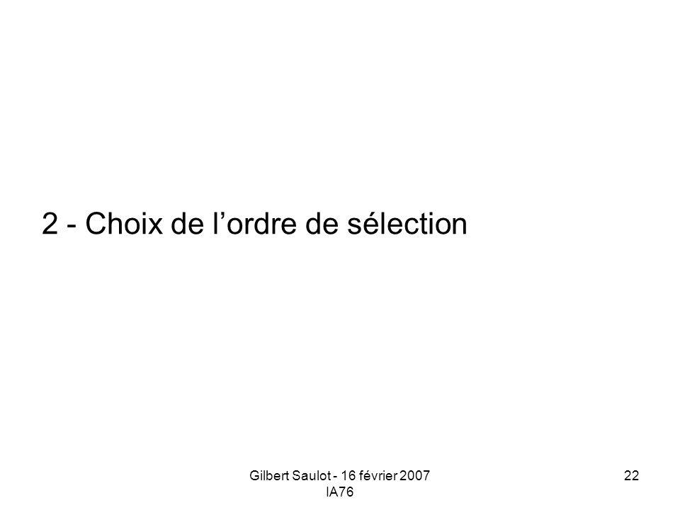 Gilbert Saulot - 16 février 2007 IA76 22 2 - Choix de lordre de sélection