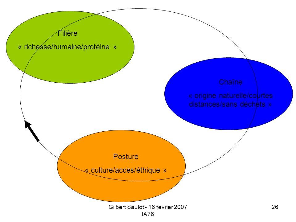 Gilbert Saulot - 16 février 2007 IA76 26 Posture « culture/accès/éthique » Filière « richesse/humaine/protéine » Chaîne « origine naturelle/courtes di