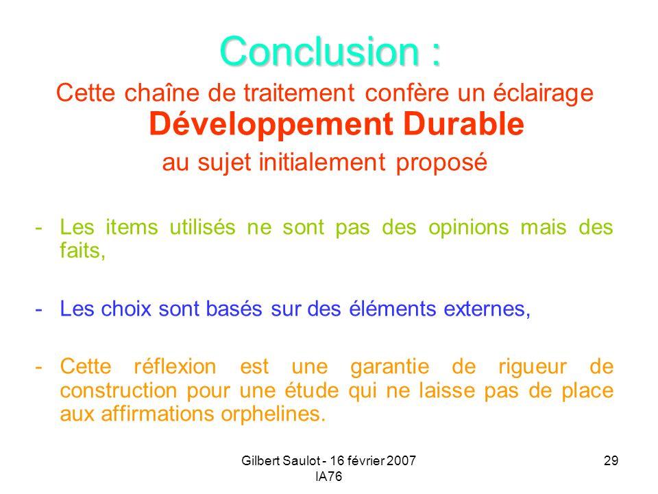 Gilbert Saulot - 16 février 2007 IA76 29 Conclusion : Cette chaîne de traitement confère un éclairage Développement Durable au sujet initialement prop