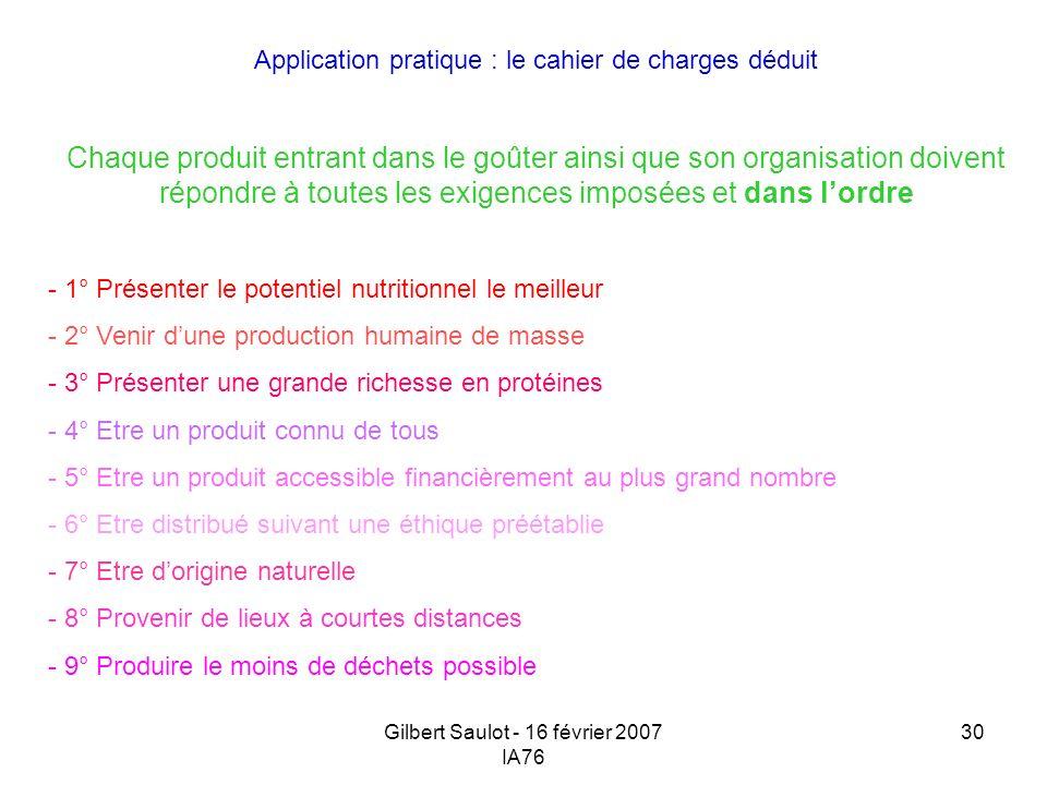 Gilbert Saulot - 16 février 2007 IA76 30 Application pratique : le cahier de charges déduit Chaque produit entrant dans le goûter ainsi que son organi