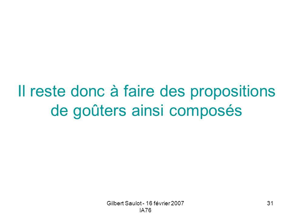Gilbert Saulot - 16 février 2007 IA76 31 Il reste donc à faire des propositions de goûters ainsi composés