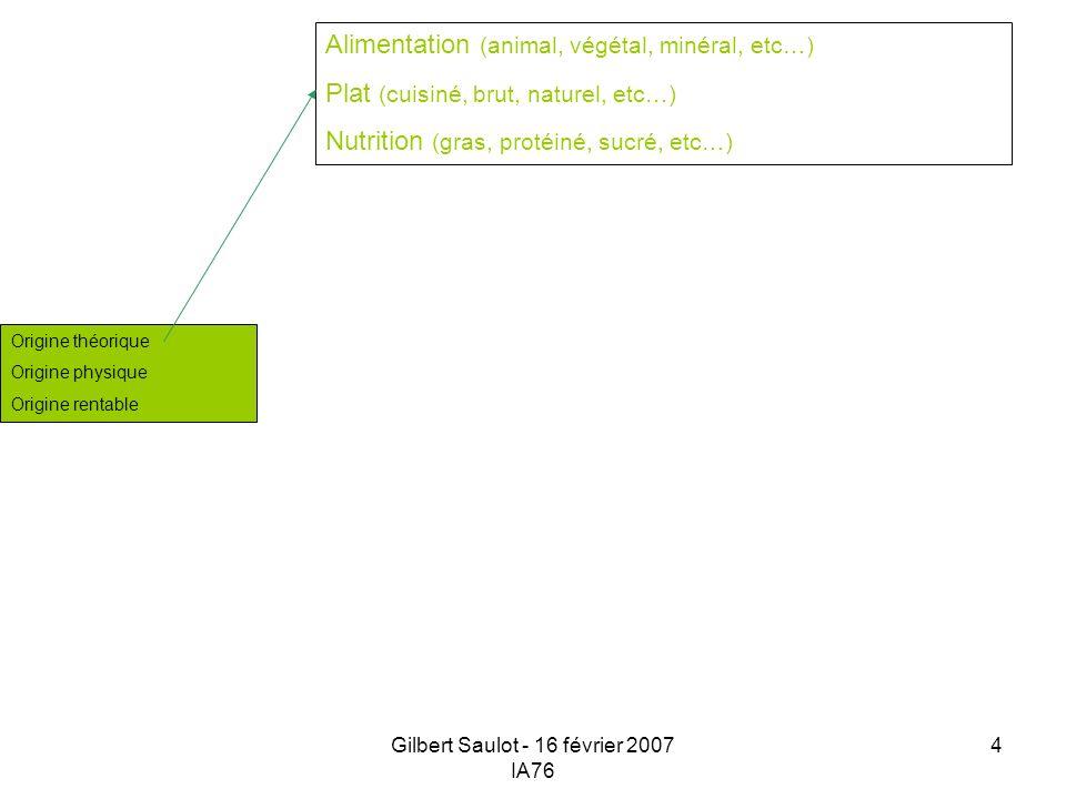 Gilbert Saulot - 16 février 2007 IA76 4 Origine théorique Origine physique Origine rentable Alimentation (animal, végétal, minéral, etc…) Plat (cuisin