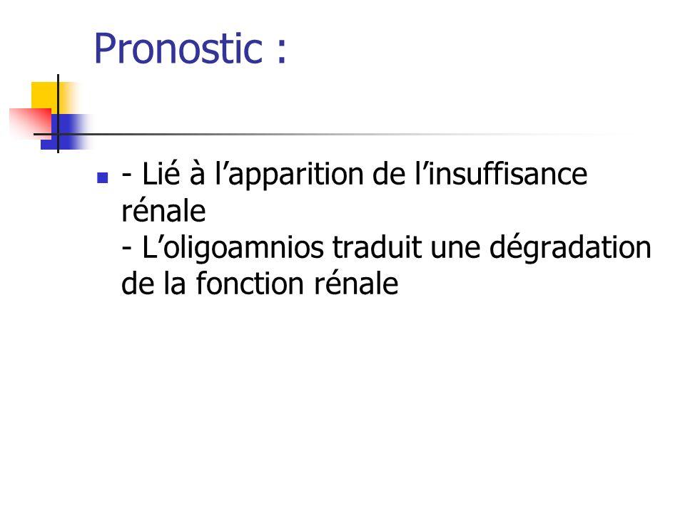 Pronostic : - Lié à lapparition de linsuffisance rénale - Loligoamnios traduit une dégradation de la fonction rénale