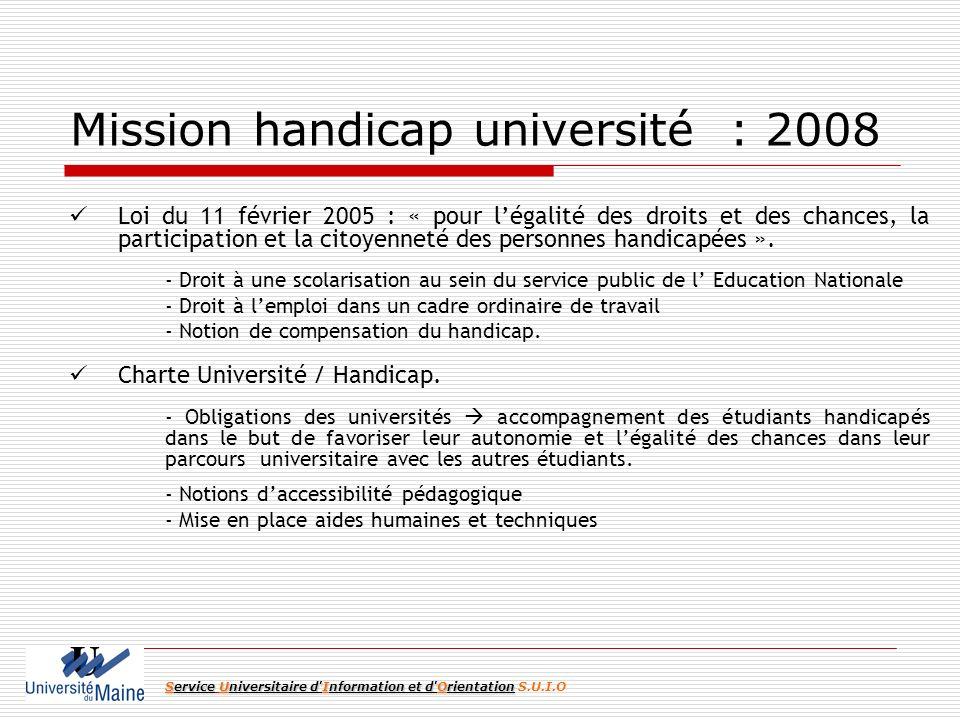 Mission handicap université : 2008 Loi du 11 février 2005 : « pour légalité des droits et des chances, la participation et la citoyenneté des personnes handicapées ».