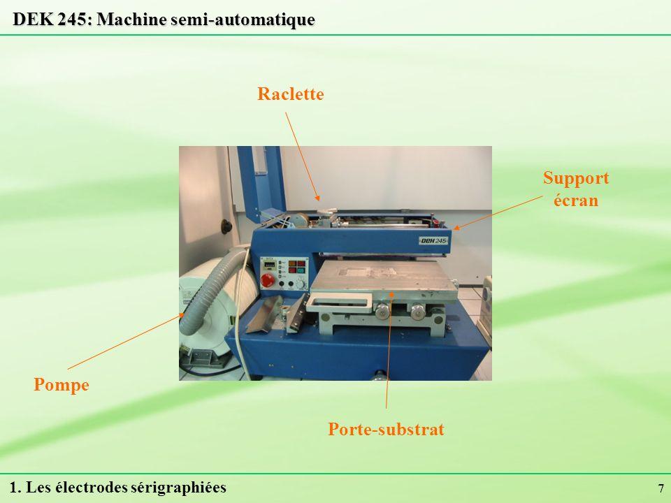 7 DEK 245: Machine semi-automatique Pompe Porte-substrat Support écran Raclette 1. Les électrodes sérigraphiées