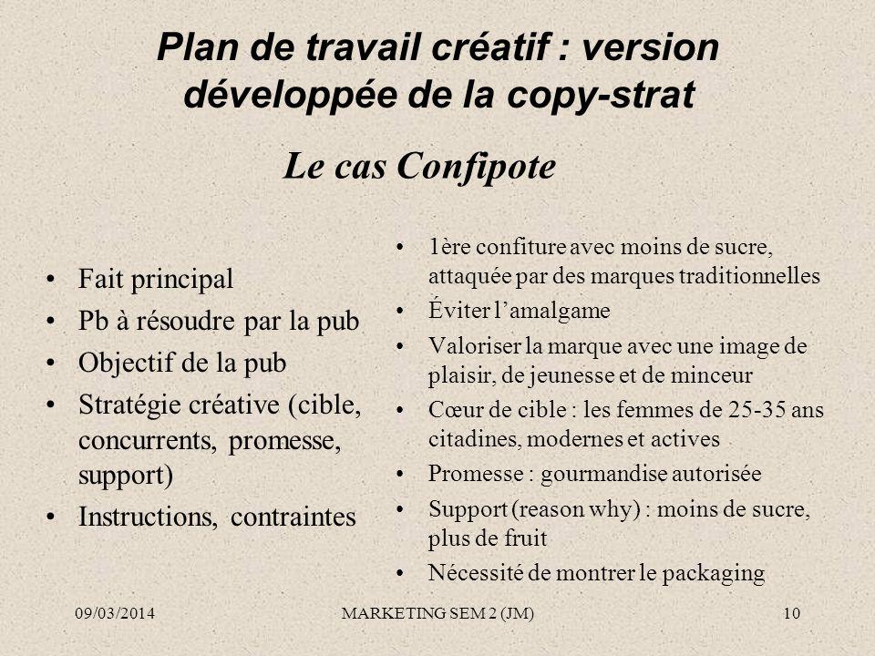 Plan de travail créatif : version développée de la copy-strat Fait principal Pb à résoudre par la pub Objectif de la pub Stratégie créative (cible, co
