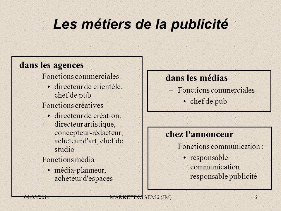Les métiers de la publicité dans les agences –Fonctions commerciales directeur de clientèle, chef de pub –Fonctions créatives directeur de création, d