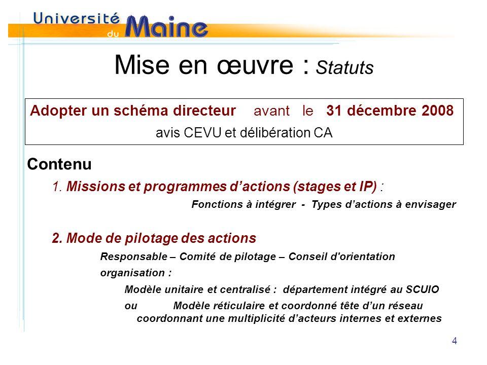 4 Mise en œuvre : Statuts Adopter un schéma directeur avant le 31 décembre 2008 avis CEVU et délibération CA Contenu 1.