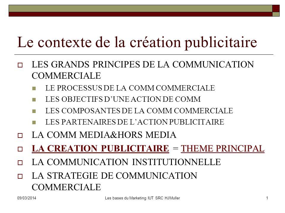 09/03/2014Les bases du Marketing IUT SRC HJMuller1 Le contexte de la création publicitaire LES GRANDS PRINCIPES DE LA COMMUNICATION COMMERCIALE LE PRO