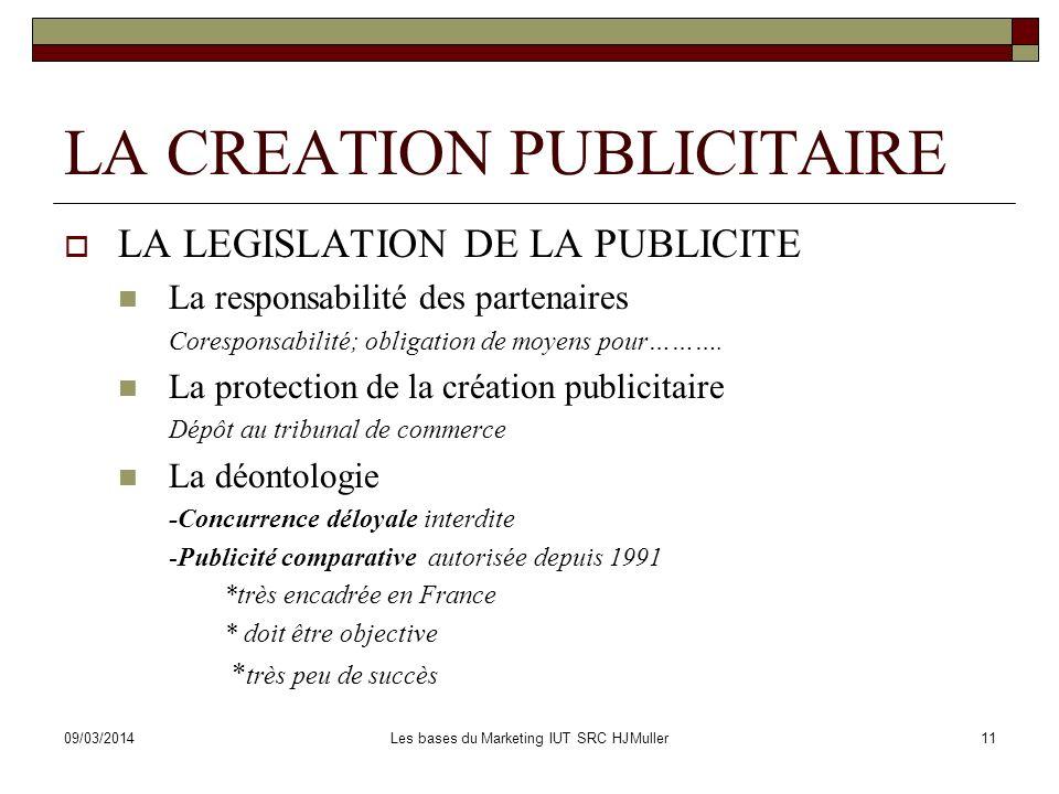 09/03/2014Les bases du Marketing IUT SRC HJMuller11 LA CREATION PUBLICITAIRE LA LEGISLATION DE LA PUBLICITE La responsabilité des partenaires Corespon