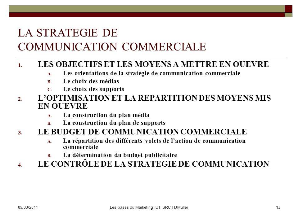 09/03/2014Les bases du Marketing IUT SRC HJMuller13 LA STRATEGIE DE COMMUNICATION COMMERCIALE 1. LES OBJECTIFS ET LES MOYENS A METTRE EN OUEVRE A. Les