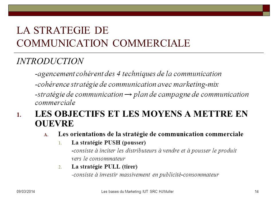 09/03/2014Les bases du Marketing IUT SRC HJMuller15 LA STRATEGIE DE COMMUNICATION COMMERCIALE 1.