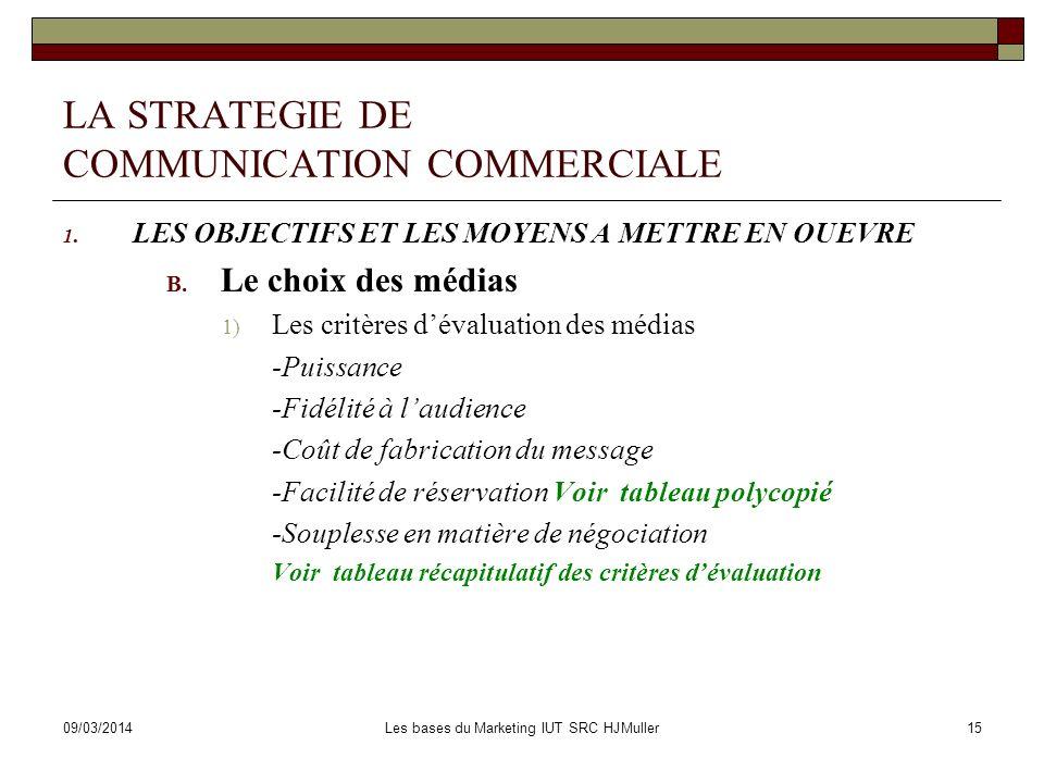 09/03/2014Les bases du Marketing IUT SRC HJMuller15 LA STRATEGIE DE COMMUNICATION COMMERCIALE 1. LES OBJECTIFS ET LES MOYENS A METTRE EN OUEVRE B. Le