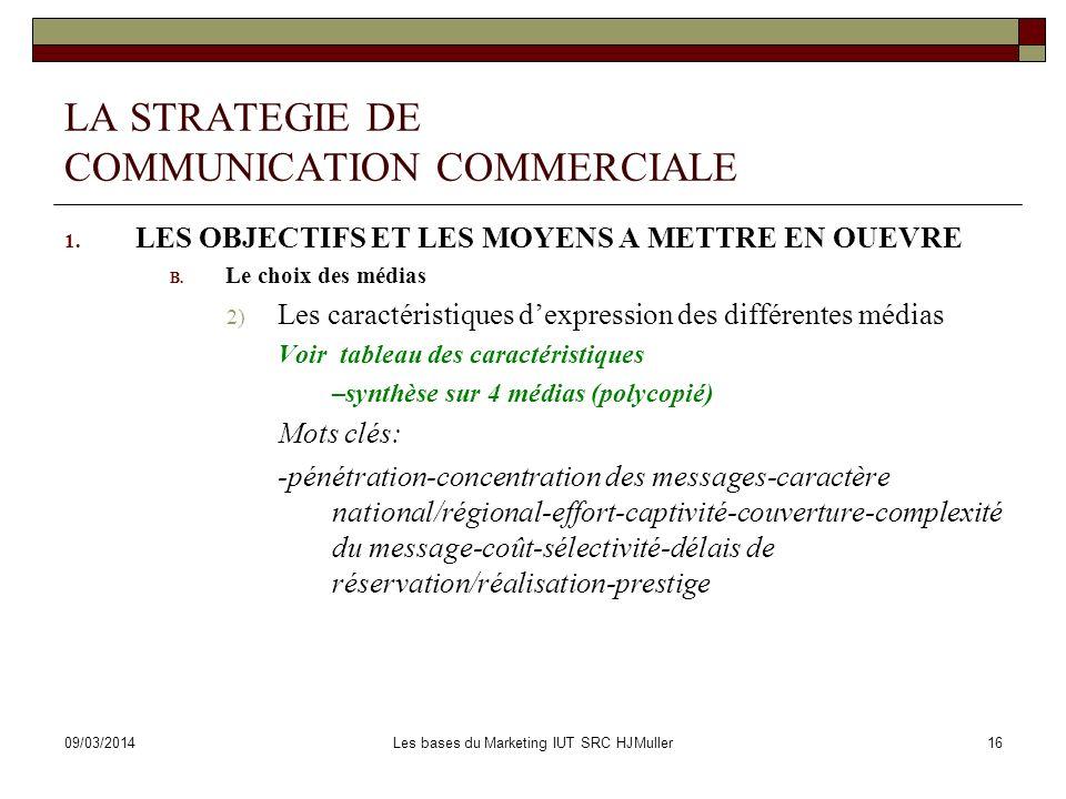 09/03/2014Les bases du Marketing IUT SRC HJMuller16 LA STRATEGIE DE COMMUNICATION COMMERCIALE 1. LES OBJECTIFS ET LES MOYENS A METTRE EN OUEVRE B. Le