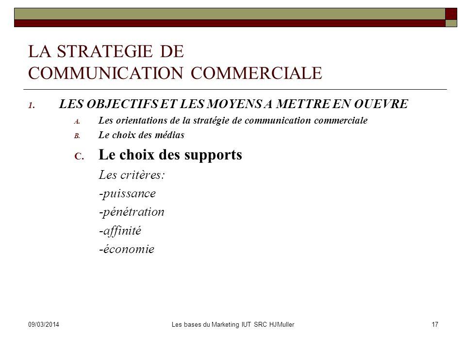 09/03/2014Les bases du Marketing IUT SRC HJMuller17 LA STRATEGIE DE COMMUNICATION COMMERCIALE 1. LES OBJECTIFS ET LES MOYENS A METTRE EN OUEVRE A. Les