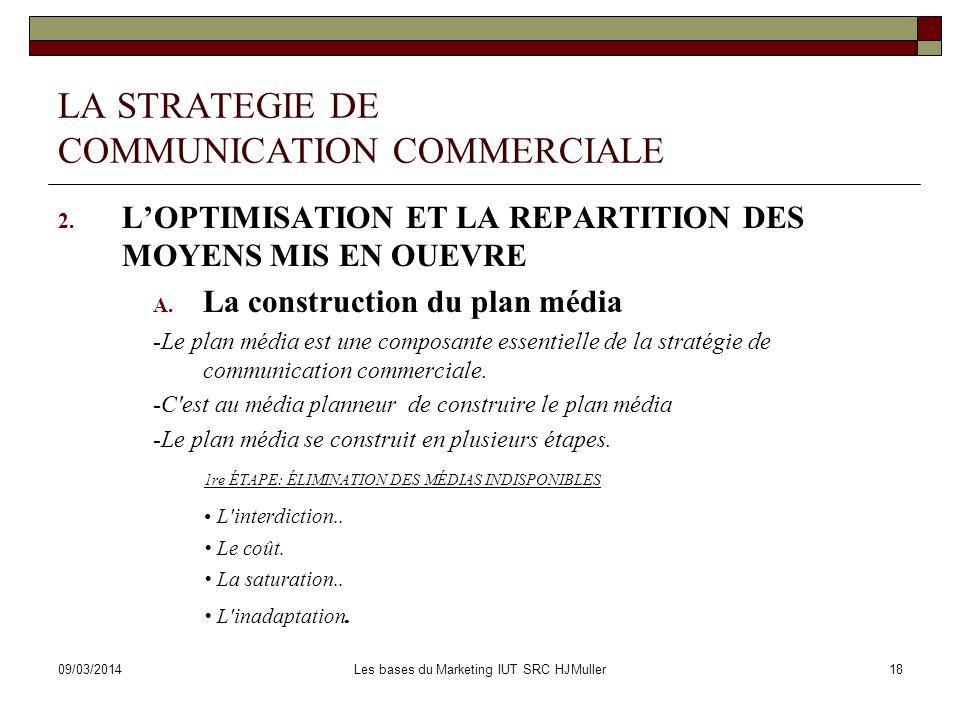 09/03/2014Les bases du Marketing IUT SRC HJMuller19 LA STRATEGIE DE COMMUNICATION COMMERCIALE 2.
