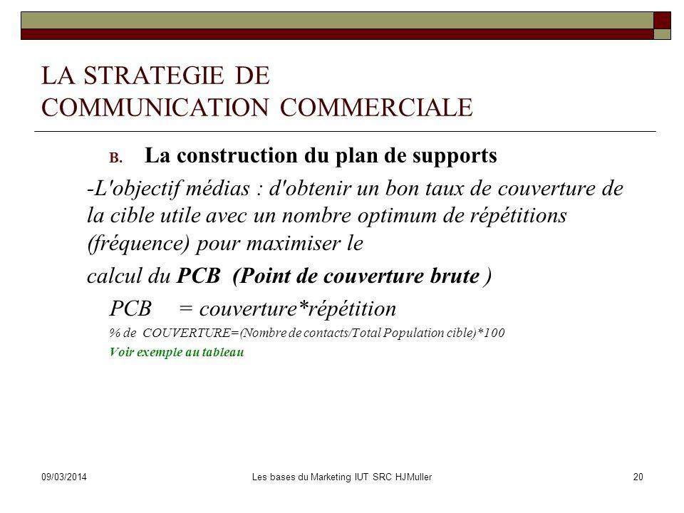09/03/2014Les bases du Marketing IUT SRC HJMuller21 LA STRATEGIE DE COMMUNICATION COMMERCIALE 3.