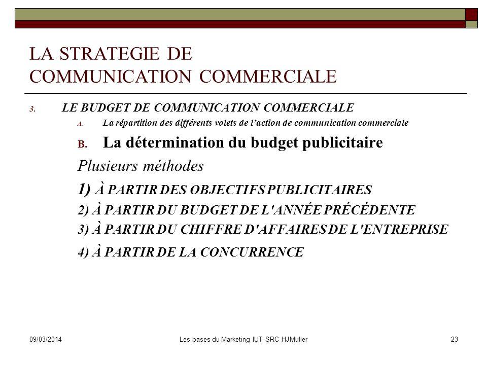 09/03/2014Les bases du Marketing IUT SRC HJMuller24 LA STRATEGIE DE COMMUNICATION COMMERCIALE 4.