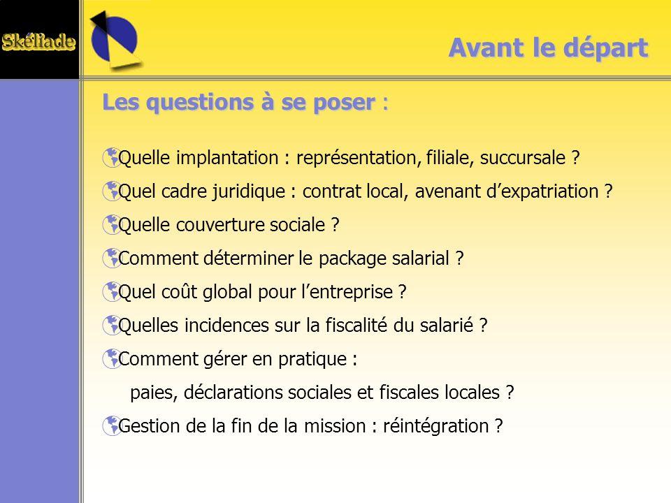 Les questions à se poser : Quelle implantation : représentation, filiale, succursale .