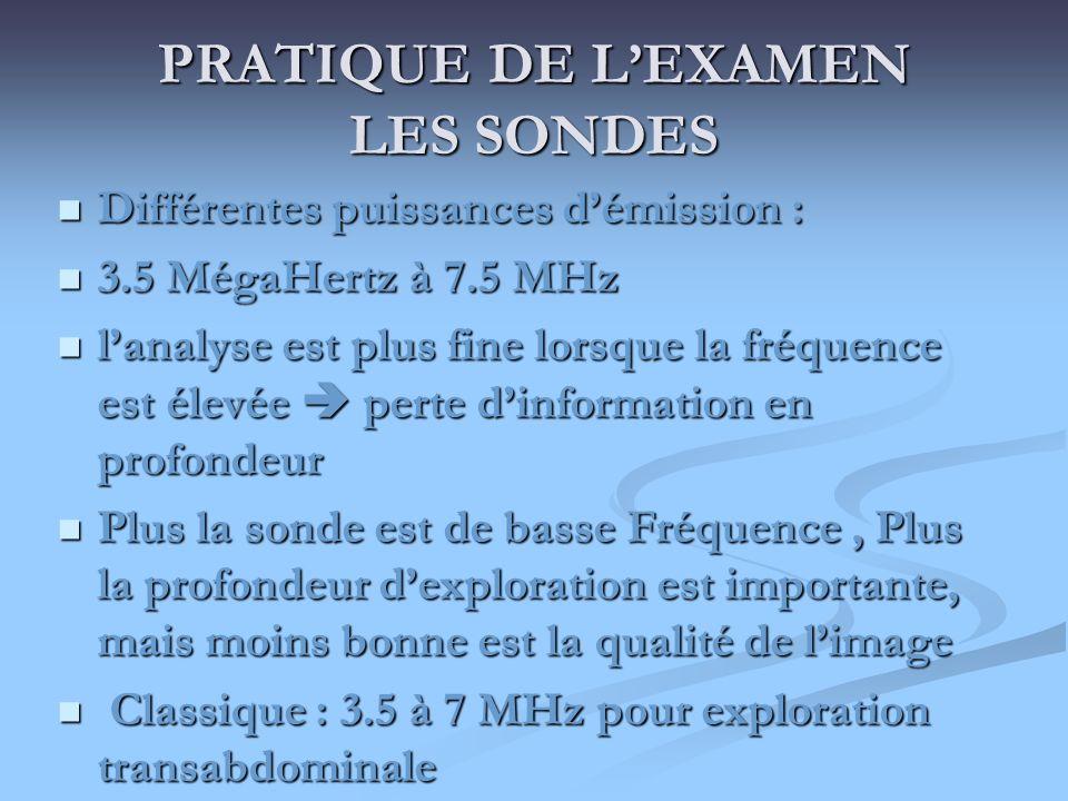 PRATIQUE DE LEXAMEN LES SONDES Différentes puissances démission : Différentes puissances démission : 3.5 MégaHertz à 7.5 MHz 3.5 MégaHertz à 7.5 MHz l