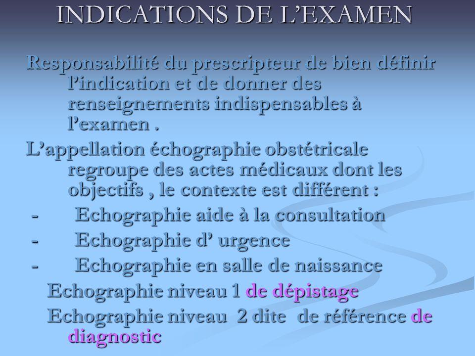INDICATIONS DE LEXAMEN Responsabilité du prescripteur de bien définir lindication et de donner des renseignements indispensables à lexamen. Lappellati