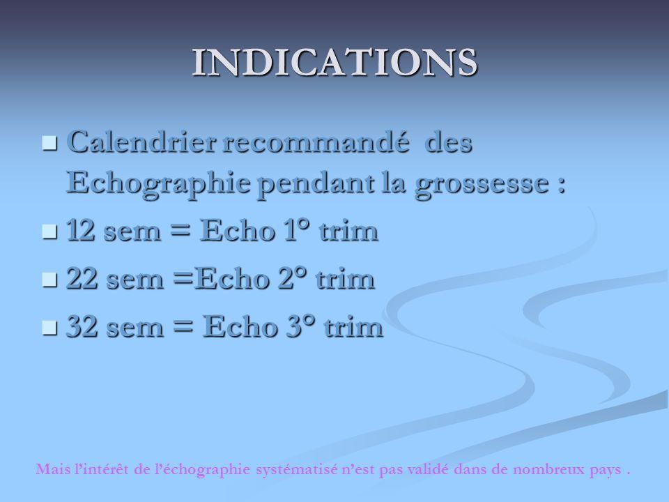 INDICATIONS Calendrier recommandé des Echographie pendant la grossesse : Calendrier recommandé des Echographie pendant la grossesse : 12 sem = Echo 1°