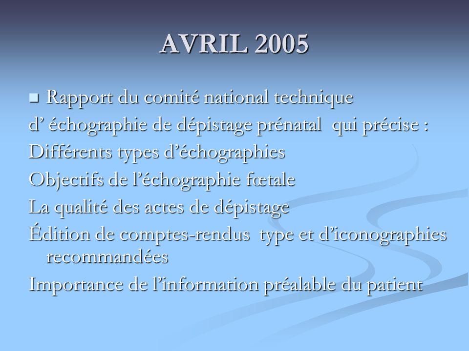 AVRIL 2005 Rapport du comité national technique Rapport du comité national technique d échographie de dépistage prénatal qui précise : Différents type