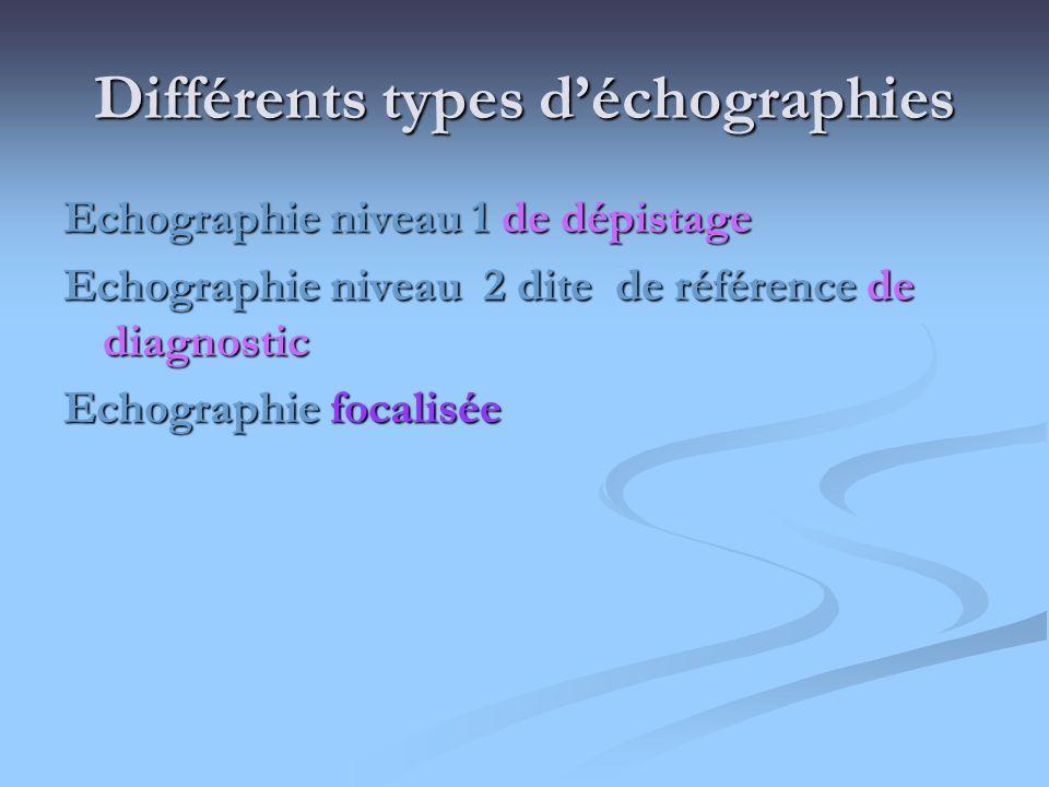 Différents types déchographies Echographie niveau 1 de dépistage Echographie niveau 2 dite de référence de diagnostic Echographie focalisée