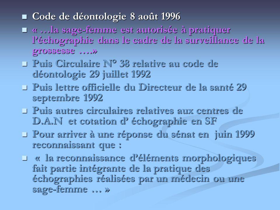 Code de déontologie 8 août 1996 Code de déontologie 8 août 1996 « …la sage-femme est autorisée à pratiquer léchographie dans le cadre de la surveillan