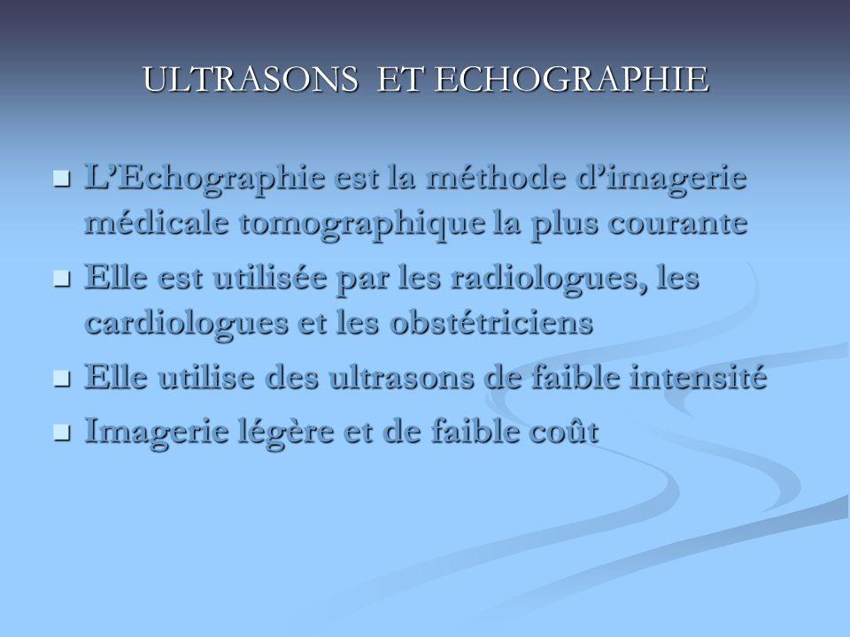 ULTRASONS ET ECHOGRAPHIE LEchographie est la méthode dimagerie médicale tomographique la plus courante LEchographie est la méthode dimagerie médicale