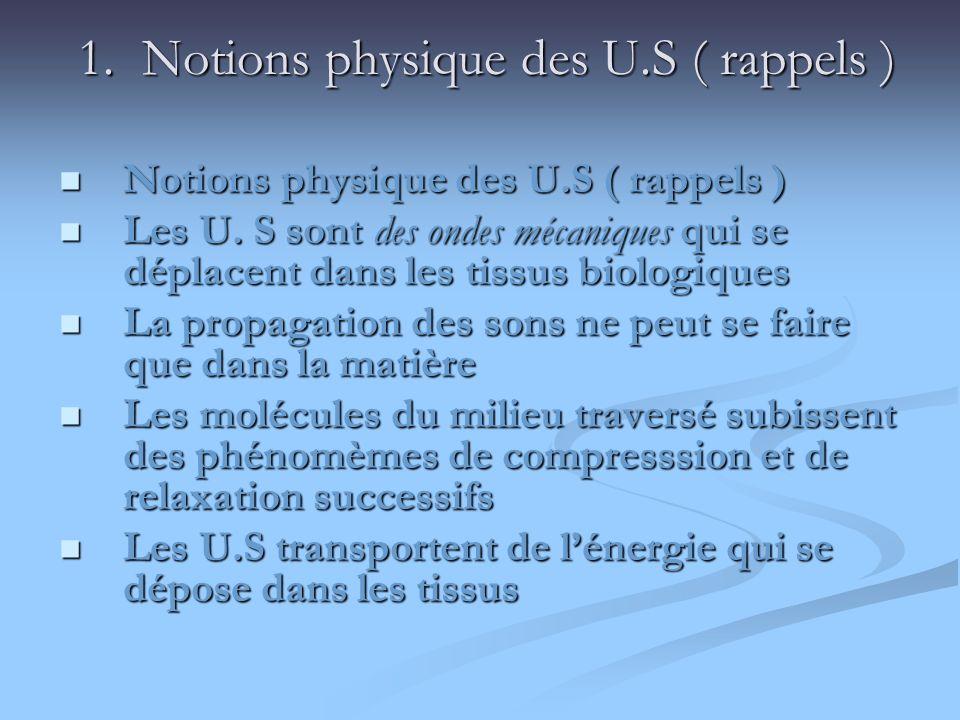 1. Notions physique des U.S ( rappels ) 1. Notions physique des U.S ( rappels ) Notions physique des U.S ( rappels ) Notions physique des U.S ( rappel