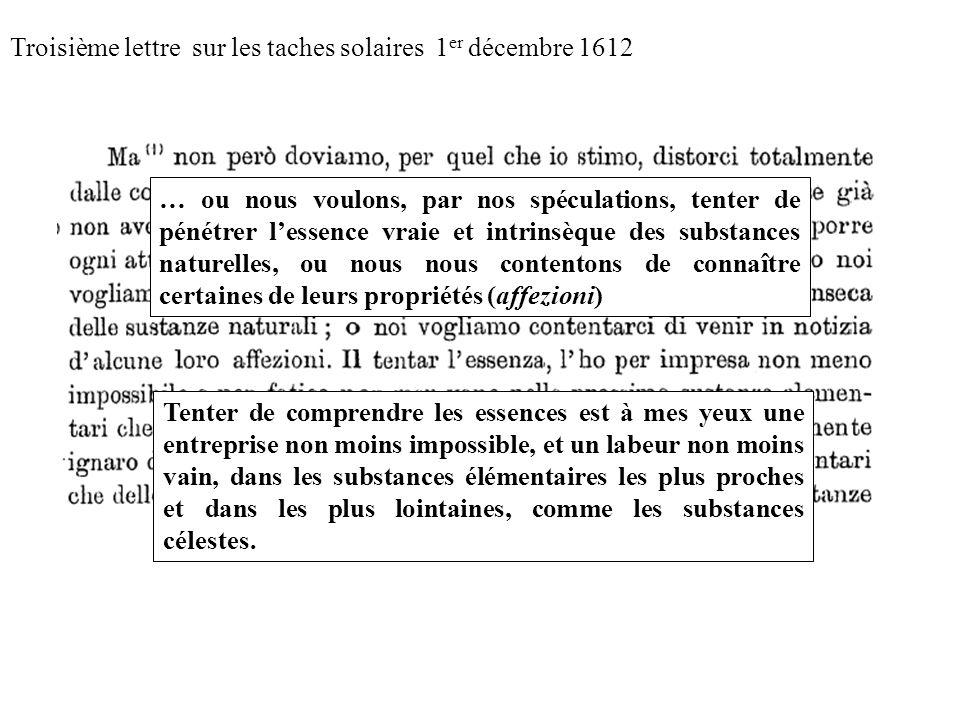 Troisième lettre sur les taches solaires 1 er décembre 1612 … ou nous voulons, par nos spéculations, tenter de pénétrer lessence vraie et intrinsèque